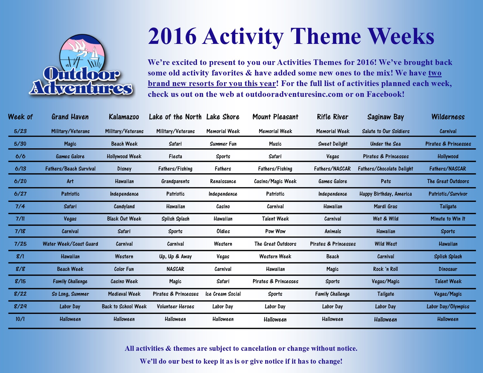 2016 activities flyer updated