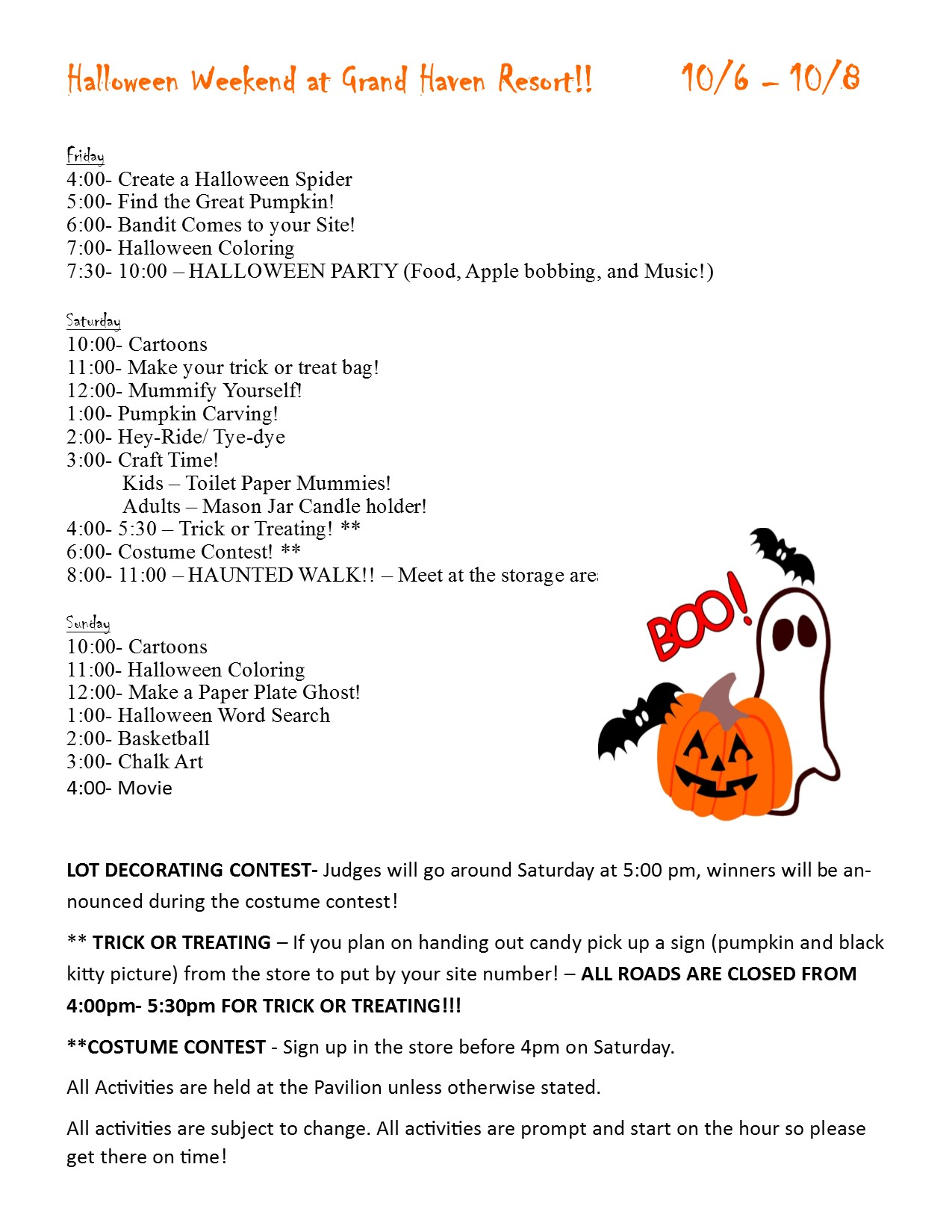 halloween 2017 gh - outdoor adventures resorts