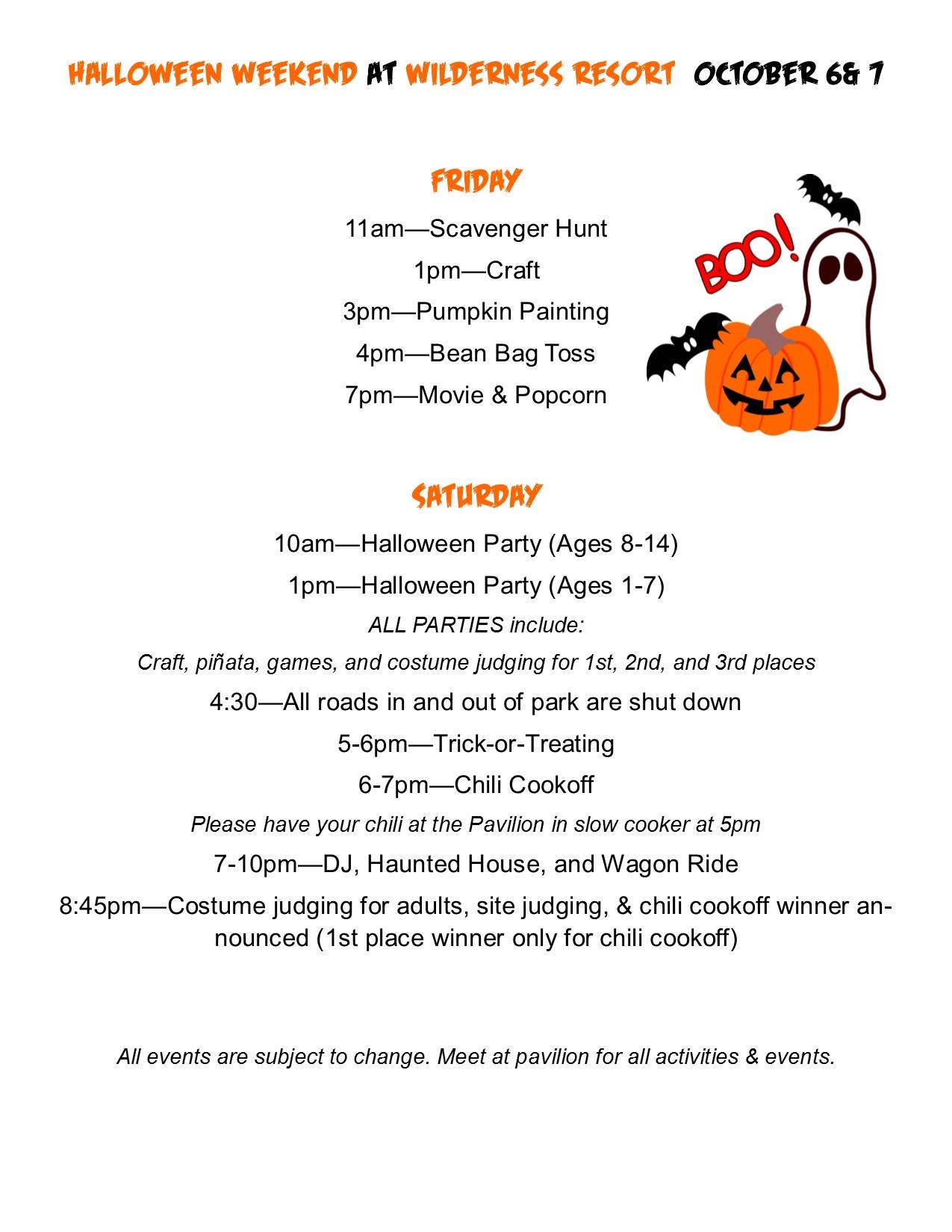 Resort Halloween Schedules 2017 Outdoor Adventures Resorts