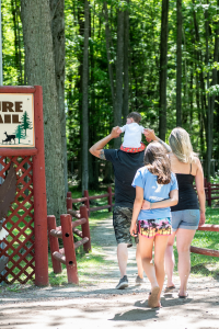 Family on nature trail