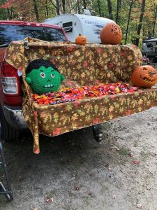 Halloween candy set up on truck bed